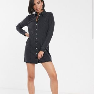 ASOS black denim fitted western shirt dress